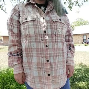 Light Pink Distressed Flannel